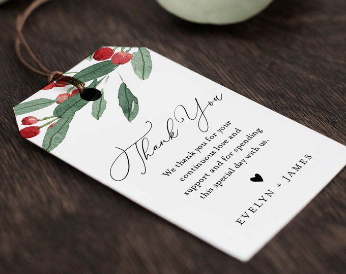 Holly Favor Tag Template, Winter Wedding Thank You Tag, Bridal Shower Tag, Welcome Bag, INSTANT DOWNLOAD, Editable Text, Templett #071-147FT