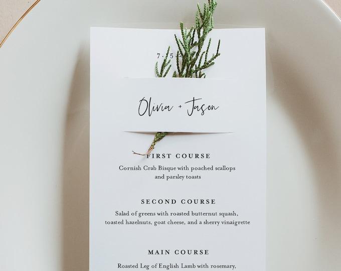 Tropical Menu Card Template, Greenery Wedding Menu, Printable DIY Menu, Unique Menu, 100% Editable, INSTANT DOWNLOAD, 3.5x8.5 #087-160WM