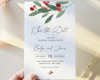 Holly Save the Date Template, 100% Editable Text, Winter Wedding Date, Christmas Wedding, Templett, Instant Download #071-183SD