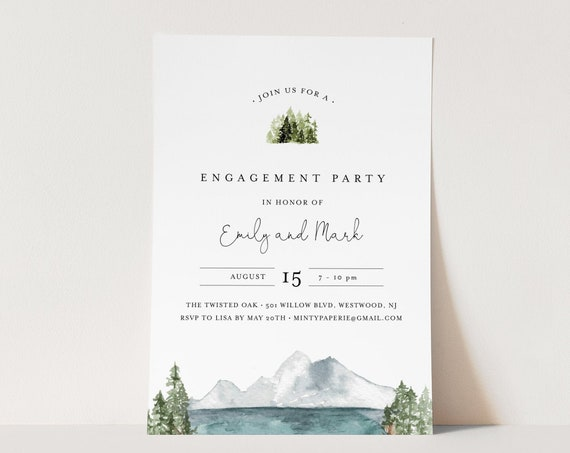 Lakeside Engagement Party Invitation, Woodland Pine, Lake Engagement Invite Template, INSTANT DOWNLOAD, 100% Editable Text #017A-135EP