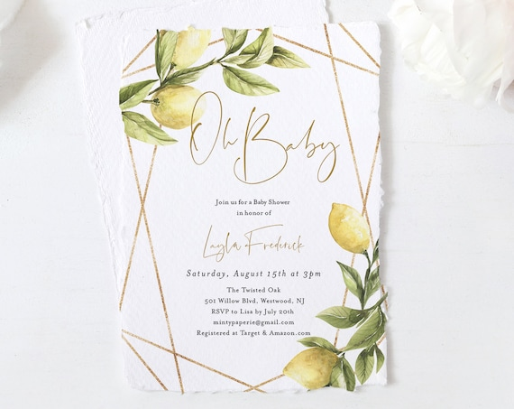 Lemon Baby Shower Invitation, Spring Summer Baby Shower, Lemon Greenery, Gender Neutral Baby Shower Invite, Instant Download, DIY #089-140BA