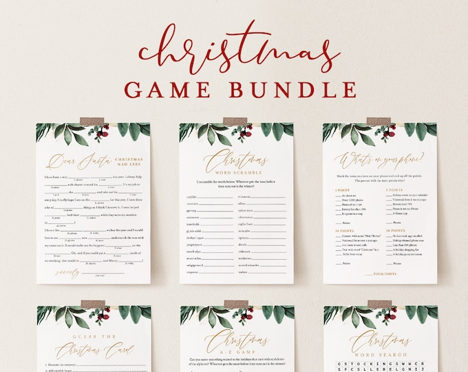 Christmas Game Bundle, Holiday Party Games, Family Fun, 12 Editable Games, Editable Template, Instant Download, Templett #0018CGB
