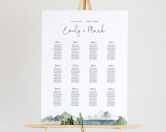 Lake Seating Chart Poster, Printable Wedding Seating Sign, Instant Download, Editable Template, Templett, US & UK Sizes #017A-257SC