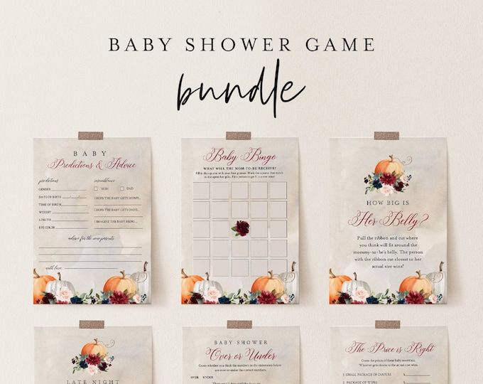 Baby Shower Game Bundle, Fall Pumpkin Baby Shower, Editable Template, Personalize, Instant Download, Printable, Templett #072A-BBGB