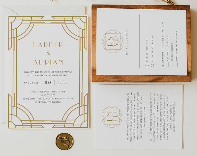 Art Deco Wedding Invitation, Printable Retro Black and Gold Wedding Invite, Minimal, Editable Template, Instant Download, Templett #0021A