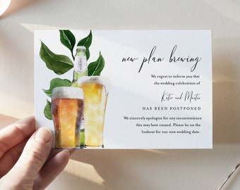 Funny Postponed Wedding Card, New Date Brewing, Change of Date Announcement Template, 100% Editable, Instant Download, Templett, 4x6 #126PA