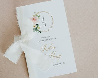 Bi-fold Wedding Program, Watercolor Blush Florals and Monogram, Order of Service, Editable Template, Instant Download, Templett  #043-138WP