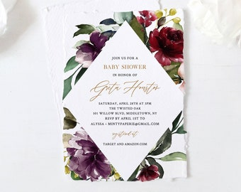 Winter Baby Shower Invitation Template, Purple Floral & Greenery, Burgundy Boho, 100% Editable Text, Instant Download, Templett #006-108BA