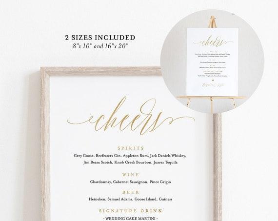 Bar Menu Template, 100% Editable, Faux Gold Wedding Sign, Printable, Signature Drinks Menu, Alcohol, INSTANT DOWNLOAD, 8x10 & 16x20 #038-02S
