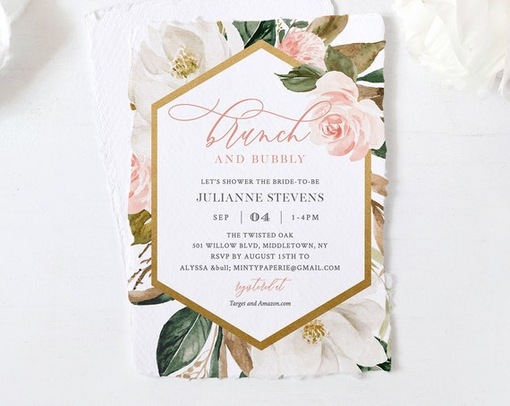 Bridal Shower Invitation Template, Brunch and Bubbly, Printable Bridal Brunch, Magnolia Florals, Editable Text, INSTANT DOWNLOAD #015-235BS