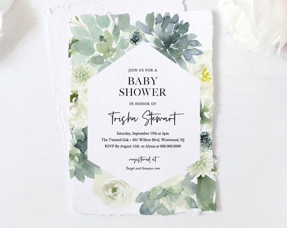 Baby Shower Invitation Template, Succulent Greenery, 100% Editable Text, Gender Neutral Baby Shower, Printable, INSTANT DOWNLOAD #075-101BA