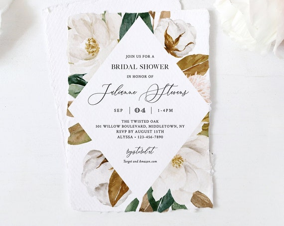 Bridal Shower Invitation, Editable Template, Southern Magnolia & Cotton Wedding Shower, Printable, Boho Bridal, Instant Download 015-217BS