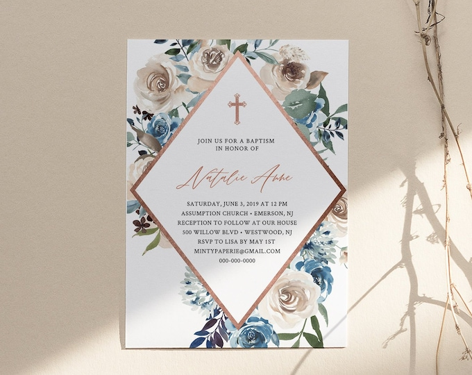 Editable Baptism Invitation Template, Printable Christening Invite, Blue & Cream Florals with Rose Gold, INSTANT DOWNLOAD Templett 077-107BC