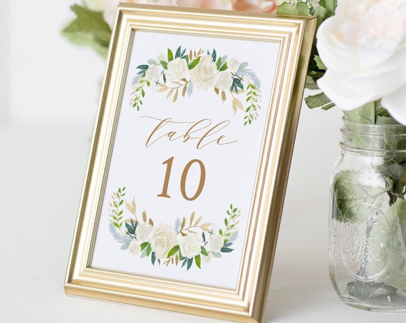 Boho Wedding Table Number Card Template, Cream Floral & Greenery, Printable Table Card, Editable, INSTANT DOWNLOAD, Flat, Folded #021-140TC