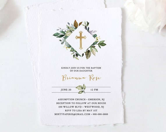 Greenery Baptism Invitation Template, Printable Boy or Girl Christening Invite, 100% Editable Text, Instant Download, Templett #005-102BC