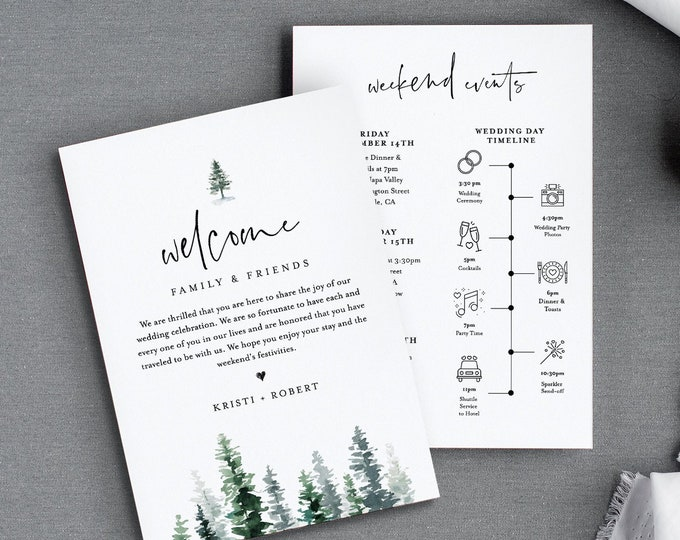 Wedding Timeline & Welcome Letter Template, Rustic Pine Tree Wedding Bag Order of Events, INSTANT DOWNLOAD, 100% Editable Text #073-120WB