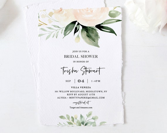 Bridal Shower Invitation Template, Watercolor Peach & Cream Florals and Greenery, Spring Boho Wedding Shower, 100% Editable Text #076-216BS