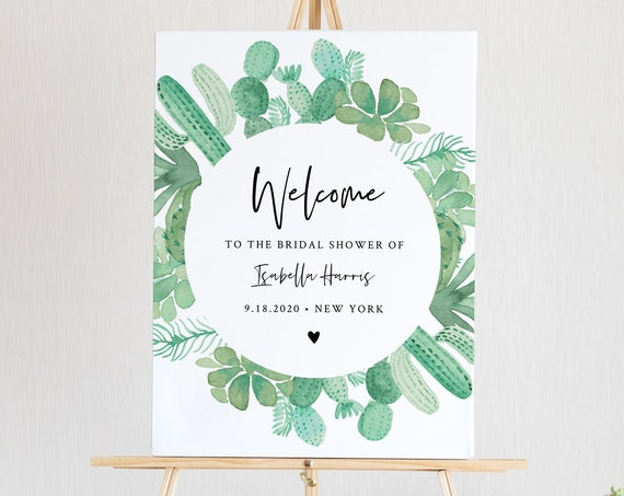 Cactus Welcome Sign Template, Bridal Shower, Instant Download, 100% Editable Text, Printable Succulent Wedding Poster Sign #086-161LS