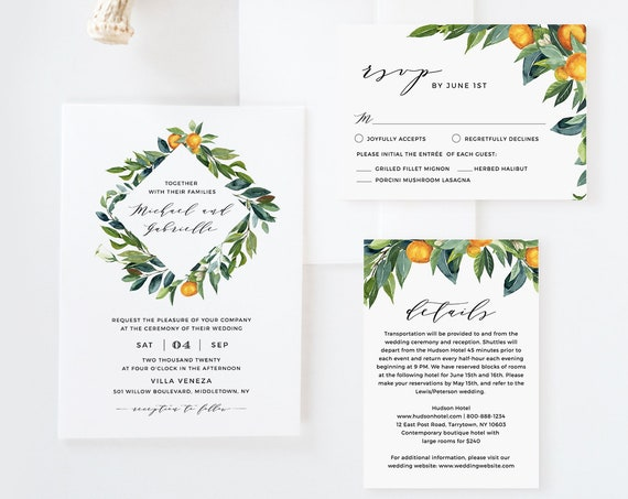 Citrus Wedding Invitation Suite, Orange Blossom & Greenery, Summer Wedding Template, 100% Editable Text, INSTANT DOWNLOAD, Templett #084A