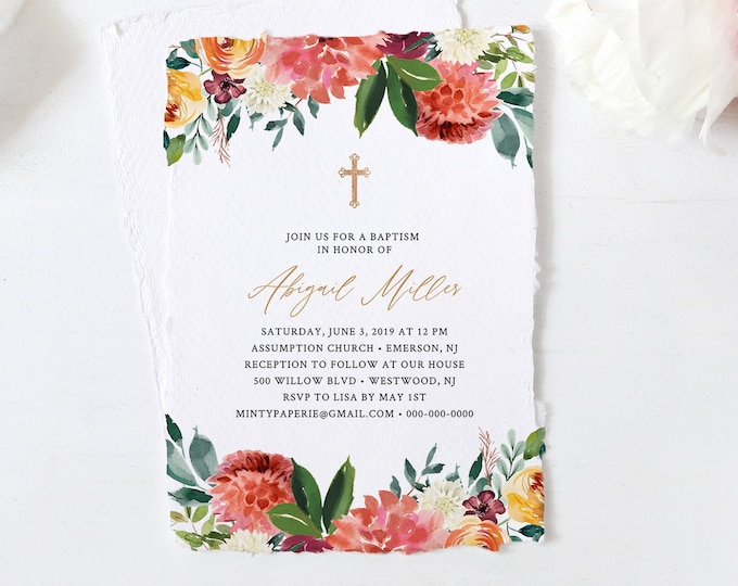 Baptism Invitation Template, Coral & Burgundy Floral Greenery, INSTANT DOWNLOAD, 100% Editable Text, Printable DIY, Templett #002-106BC