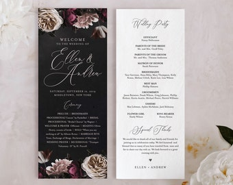 Wedding Program Template, Order of Service, Moody Boho Florals, Dark Purple, 100% Editable Text, Flat Program, Instant Download #009-220WP