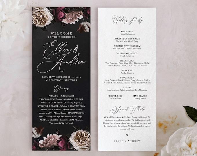 Wedding Program Template, Order of Service, Moody Boho Florals, Dark Purple, 100% Editable Text, Flat Program, Instant Download #009-220WP