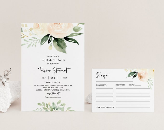 Bridal Shower Invite and Recipe card, Editable Templates, Watercolor Peach & Cream Florals and Greenery Wedding Shower, Templett #076-BSRC