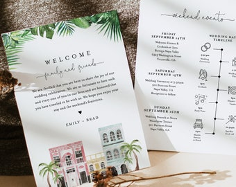 Charleston Welcome Letter & Timeline, Rainbow Row Wedding Order of Events, Itinerary, INSTANT DOWNLOAD, Editable Template #017B-146WB