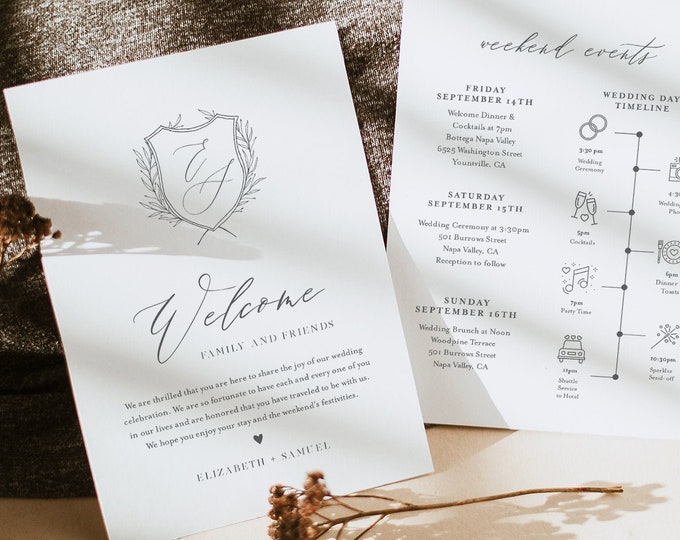 Wedding Itinerary, Welcome Letter Template, Welcome Bag Note, Order of Events, Agenda, Icon Timeline, 100% Editable, Templett #0007-154WB