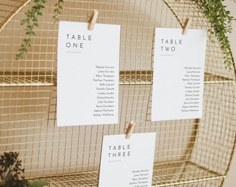 Minimalist Seating Chart Template, Modern Simple Wedding Seating Plan, Hanging Cards, 100% Editable, Instant Download, Templett #094-139SP