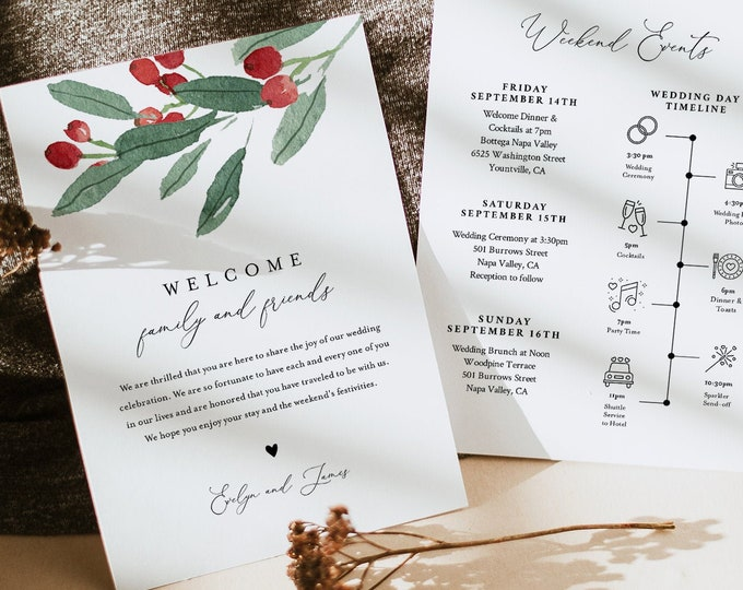 Winter Holly Wedding Welcome Letter & Timeline Template, Wedding Order of Events, Itinerary, INSTANT DOWNLOAD, 100% Editable Text #071-161WB