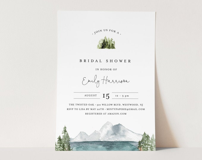 Lake Bridal Shower Invitation Template, Rustic Mountain Wedding Shower Invite, Pine, Editable Text, Printable, INSTANT DOWNLOAD #017A-257BS