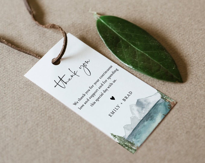 Lake Favor Tag for Bridal Shower or Wedding, Mountain Pine Thank You Tag, INSTANT DOWNLOAD, Editable Text, Printable, Templett #017A-156FT