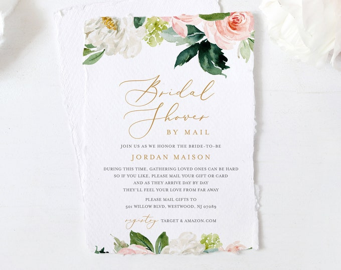Bridal Shower by Mail Invitation Template, Editable Social Distancing Shower Invite, Quarantine, Instant Download, Templett #043-270BS