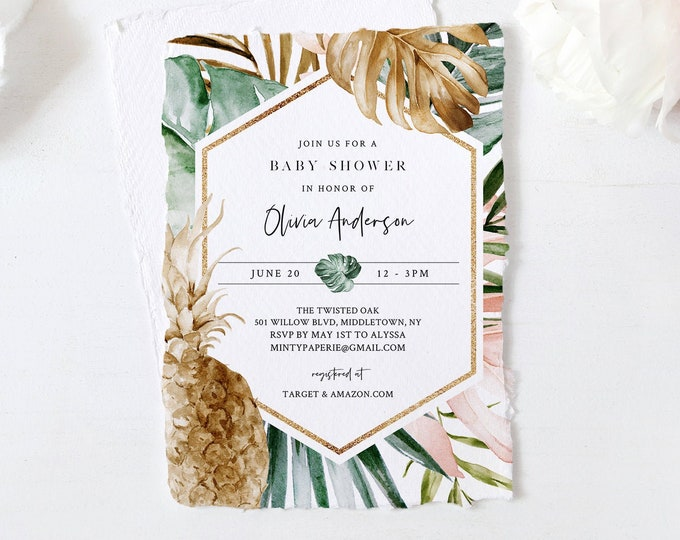 Baby Shower Invitation Template, Summer Tropical Pineapple Baby Invite, Blush and Gold Lush Greenery, INSTANT DOWNLOAD, Templett #087-132BA