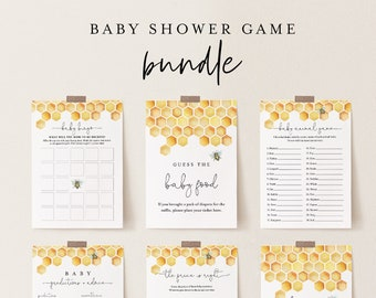 Baby Shower Game Bundle, Honey Bee, Honeycomb, Editable Templates, Personalize Questions, Instant Download, Printable, Templett #097BBGB