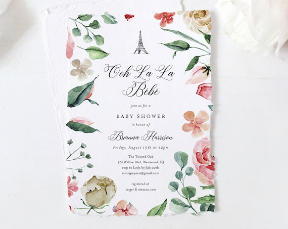 Paris Baby Shower Invitation Template, Ooh La La Bebe, Printable French Baby Shower, Editable Text, INSTANT DOWNLOAD, Templett #001-142BA