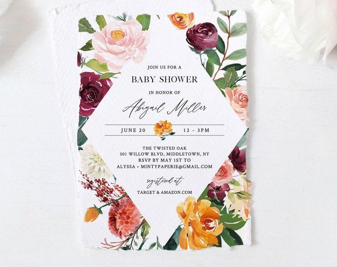 Baby Shower Invitation Template, Orange & Burgundy Floral Greenery, INSTANT DOWNLOAD, 100% Editable Text, Printable DIY, Templett #002-117BA