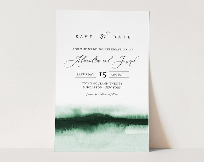 Watercolor Save the Date Template, 100% Editable Text, Modern Minimalist Wedding Date, DIY, Templett, Digital, Instant Download #093C-162SD