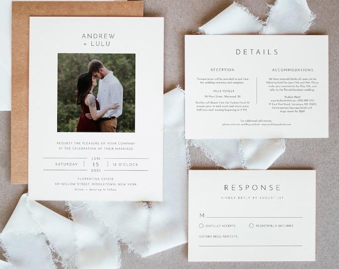 Photo Wedding Invitation Set, Simple, Modern, Minimalist Wedding Invite, RSVP, Detail, Editable Template, Instant Download, Templett #094C