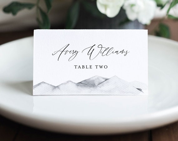Mountain Place Card Template, Printable Rustic Winter Wedding Escort Card, Minimalist Name Card, Editable Text, INSTANT DOWNLOAD #004-144PC