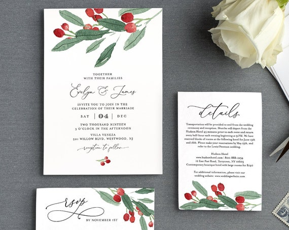 Winter Wedding Invitation Set, Editable Template, Rustic Holly Greenery Foliage Invite, RSVP and Details, Printable, INSTANT DOWNLOAD #071A