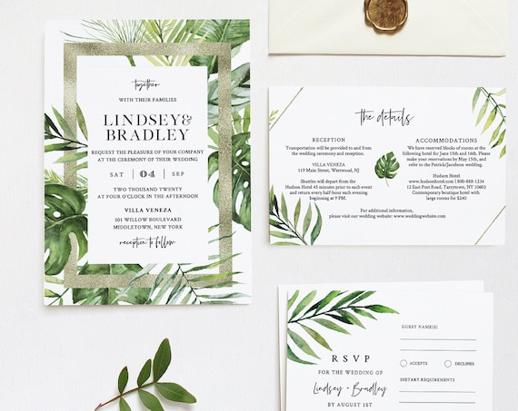 Tropical Wedding Invitation Suite, Destination Beach Wedding Invite, RSVP and Details, Editable Template, INSTANT DOWNLOAD, Templett #083A