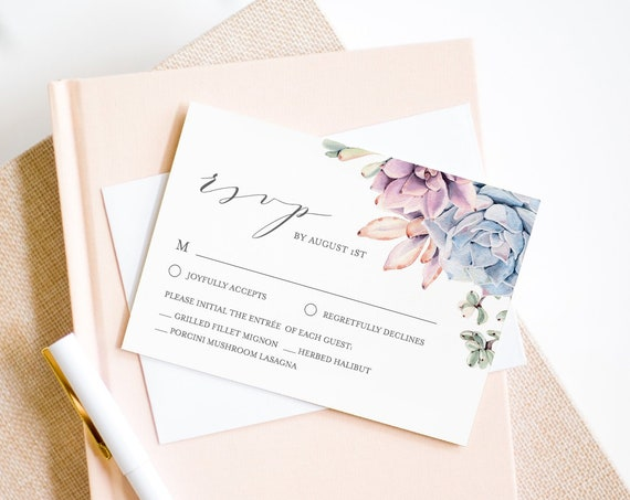 Succulent RSVP Card Template, Wedding Response Card, 100% Editable Text, Printable Wedding Reply, Instant Download, Templett, DIY #041-RSVP
