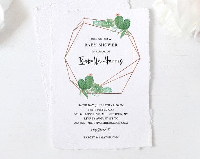 Baby Shower Invitation, Printable Succulent Fiesta Shower Invite Template, Cactus, Editable Text, Instant Download, Templett, DIY #086-130BA
