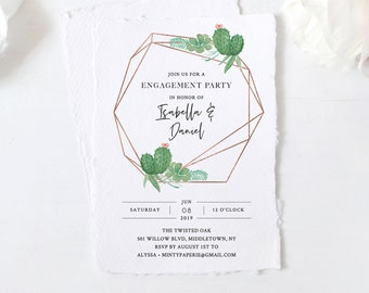 Engagement Party Invitation, Fiesta, Cactus, Succulent, INSTANT DOWNLOAD, Self-Editing Template, Engaged Announcement, Templett #086-129EP