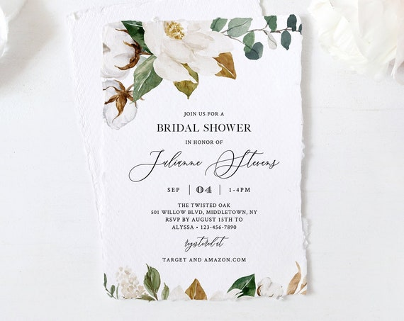 Bridal Shower Invitation Template, Southern Magnolia Flower & Cotton Wedding, Printable Couples Shower Invite, 100% Editable Text #015-218BS