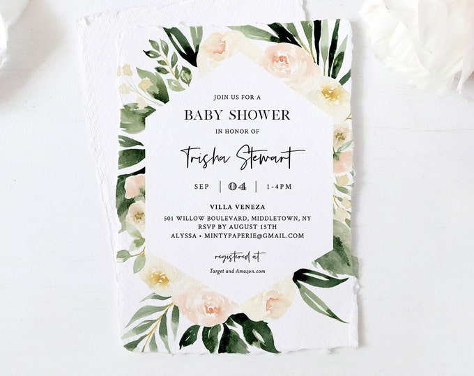 Peach Baby Shower Invitation Template, Blush Florals and Greenery, Printable Boho Baby Shower Invite, Instant Download, Templett #076-104BA