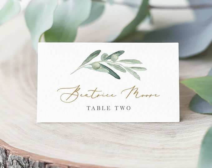 Olive & Gold Place Card Template, INSTANT DOWNLOAD, 100% Editable, Printable Wedding Escort Card, Greenery Name Card, Templett #081-131PC