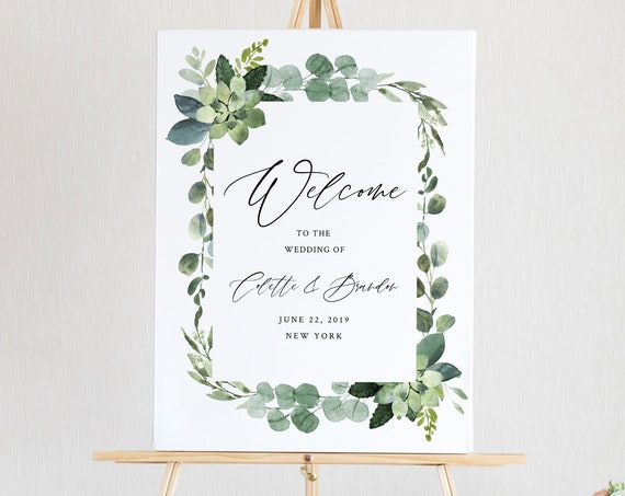 Welcome Sign Template, Greenery Wedding or Bridal Shower Welcome Sign Poster, Instant Download, 100% Editable Text, Templett #082-149LS